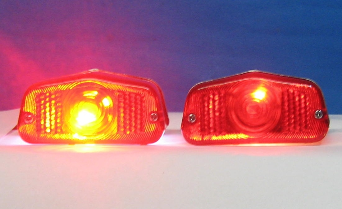 Shown Here Fitted To A Lucas Pattern Tail Light Both On Tail Mode The Led Is On The Left