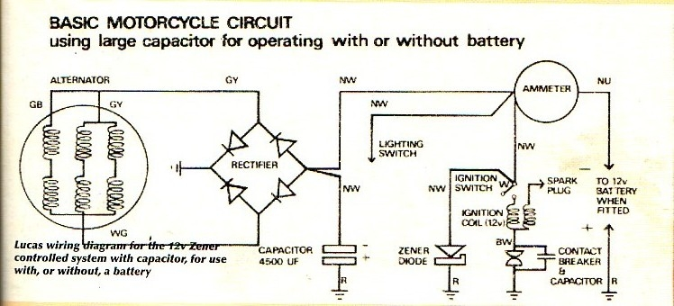 Lucas wire motorcycle alternator wiring diagram